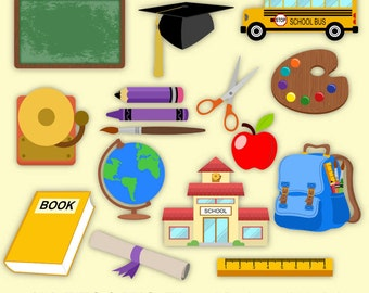 School Clipart - 184 files png jpeg 300 dpi 6 inches