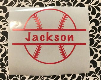 Personalized baseball decal, baseball decal with name, baseball, car window decal, Yeti cup decal,