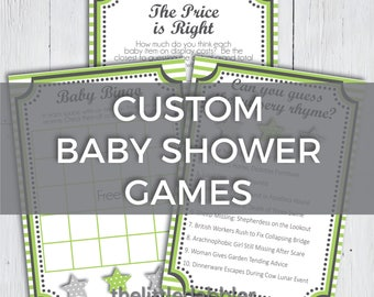 Custom Printable Baby Shower Games -- Wishes for Baby, Bingo, Price Is Right, Nursery Rhyme, Word Scramble, Advice for Parents -- PDF & PNG