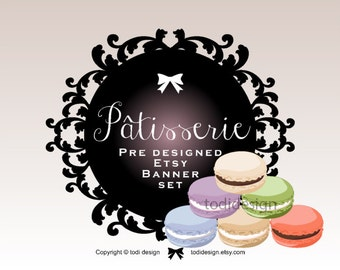 Patisserie- PreDesigned Etsy Shop Banner set Macaron, French Patisserie