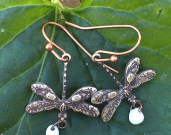 Dragonfly earrings Handmade Dragonfly Earrings, Delicate,Detailed Copper Dragonflies ,Tiny White Glass Drops,Dragonfly symbolic of change