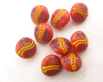 9 Vintage Art Deco Czech Diminutive Tiny Red Patterned Glass Buttons