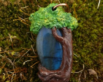 Hand sculpted and painted polymer clay, one of a kind Labradorite Tree Pendant