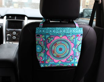 Ready to Ship Headrest CADDY in Amy Butler Dream Weaver Teal, Women, Car Litter Bag, Auto Accessories, Auto Bag, Trash Bag, Car Caddy