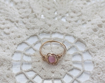 Pink Cats Eye Wire Wrap Ring