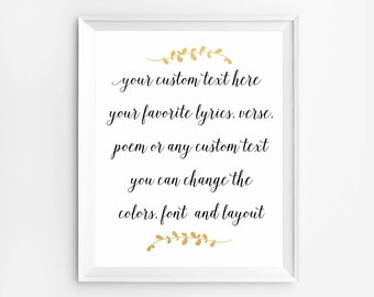 Custom calligraphy quote, Custom word signs, Custom Printable, Custom Wall Art, Personalized Print, Custom Poem art, Custom Quote Print