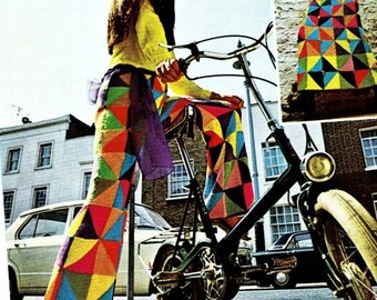 Vintage 70's Knit Pattern - Hippie Patchwork Bell Bottom Pants & Skirt - PDF Pattern - Instant Download