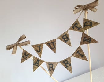 Just Married Cake Banner Rustic Banner