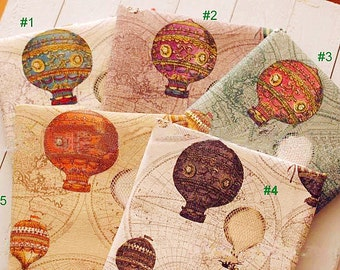 Vintage map fabric etsy studio japanese cotton linen fabric vintage fire balloon circus balloon world map on beige green purple brown grey 12 yard f003 gumiabroncs Gallery