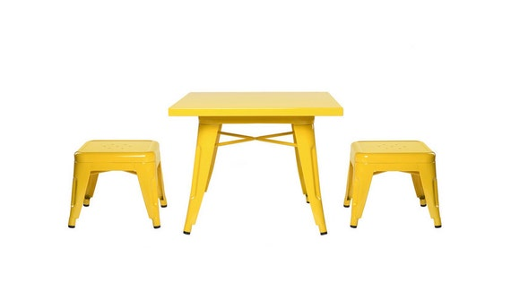 Custom Tolix Style Child Size Table Chair Set: Option to