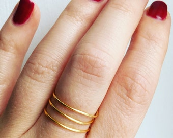 Gold Plated Spiral Ring • Spiral ring • Layered ring • Stackable ring • Statement ring