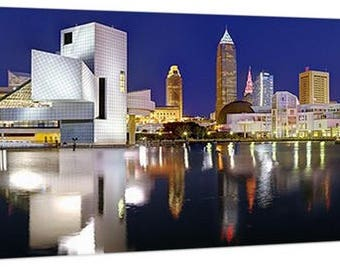CANVAS Cleveland Skyline at Dusk Panoramic Print Panorama Photographic Picture