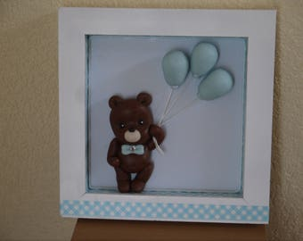 Customizable frame decorated with a teddy bear and his blue balloons