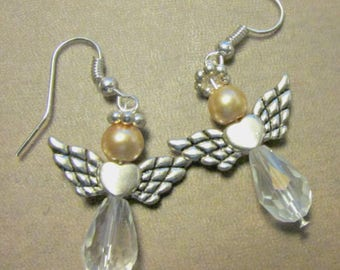 Crystal and Pearl Angel Earrings