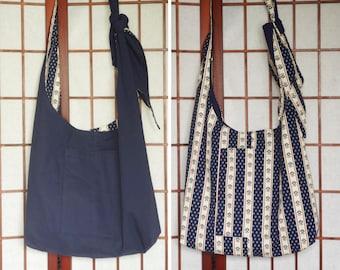Navy Cross Body Hobo Bag, Reversible Sling Bag, Bohemian Hippie Boho Bag, Handmade Recycled Crossbody Bag with Pockets, Adjustable Strap Bag