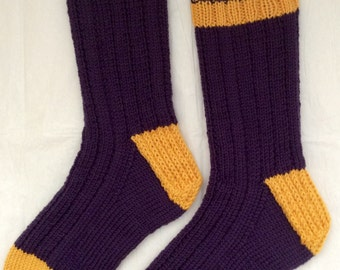 Hand Knit Mens or Womens Washable Wool Heavy Boot, Hiking, Skiing, Snowboarding Socks (S-159
