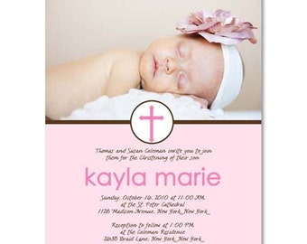 Baptism or Christening Announcement - Photographer Photoshop Template (Kayla Pink)