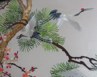 "Large 45"" X 22"" Framed Chinese Silk Embroidery Asian Chinese Chinoiserie Art Work Japanese Crane Cherry Blossom"