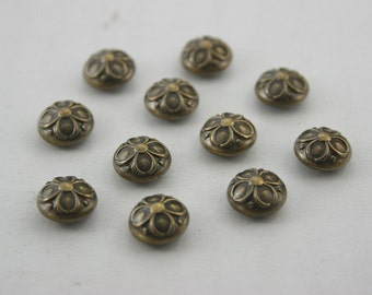 300 pcs. Vintage Flower Antique Brass Dome Rivets Studs Buttons Decorations Findings 9 mm. DR FW BR91 60 RV K