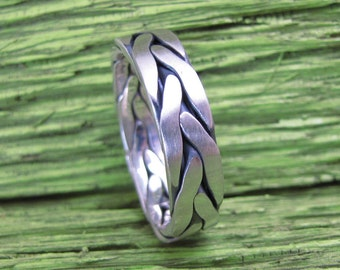 Men's 5 Wire Braided Silver Ring, Oxidized and Brush Finished
