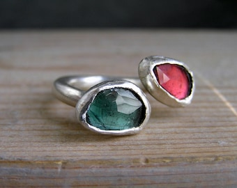 Green and Pink Rose Cut Tourmaline Sterling Silver Open Ring. Multistone sterling silver ring.