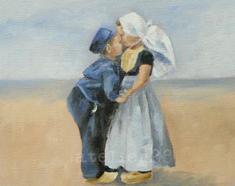 giclee art print of a boy and a girl giving each other a kiss on the cheek