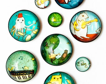 Music Magnets Animals Playing Music Illustrated Glass Fridge Magnets - boy girl party