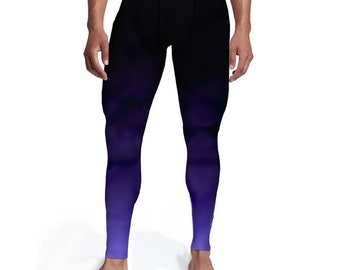 Men's Black Purple Ombre Tights, Men leggings, Tights for him