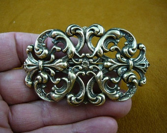 BARRETTE hair filigree flowers Flower scrolled brass flowers holds up Barrettes French CB-FLO-17