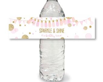 SPARKLE AND SHINE water bottle wrap pink gold glitter birthday printable  file diy water bottle sticker label instant digital download