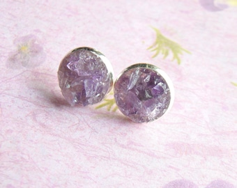 Amethyst Earrings, Crushed Gemstone, Amethyst Stud Earrings, Post Earrings, Gemstone Stud Earrings, under 25, February Birthstone Gift sale