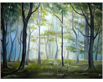 Morning in the forest - Original oil painting on canvas, nature tree signed art special gift wood landscape
