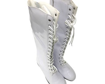 White Men's Tall Costume Boots Wrestler Superhero Pro Wrestling Shoes Lace Up Professional Boxer Super Hero 90s Cosplay Halloween Quality