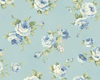 Ruru Bouquet Love Rose Love Cotton Fabric Rose ru2300-13c Roses on Blue