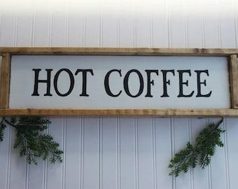 Coffee sign | Hot coffee sign | rustic coffee sign | custom coffee sign | Farmhouse Style Sign | Home Decor Sign