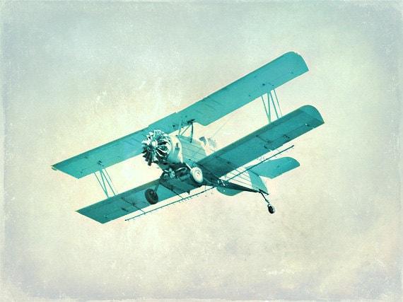 Vintage Airplane Nursery Print Blue Aqua Plane