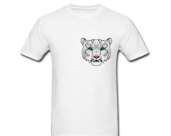 Snow Leopard T-shirt - Geometric print - Hand printed - Original design - T-shirt - White Tee