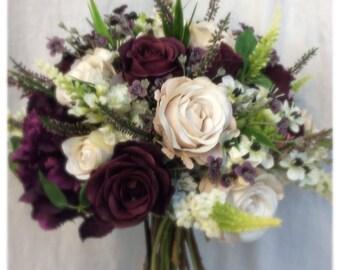Artificial Silks Plum Creams Roses Hydrangeas Rustic Hand Tied Bouquet & Buttonhole