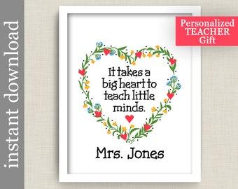 Teacher Gift, Printable wall art, personalized teacher, gift for teacher, printable gift, Big Heart, Little Minds, classroom art, class gift