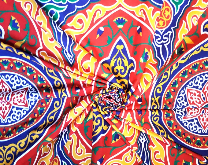 Mandala multicolour fabric. Traditional Egyptian motif. Lotus flower. Lightweight fabric for clothing or decoration