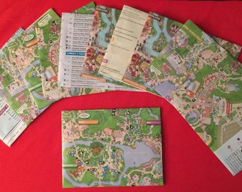 Set of TWELVE upcycled lined Disney map envelopes for wedding invitations, party invitations, correspondence and more