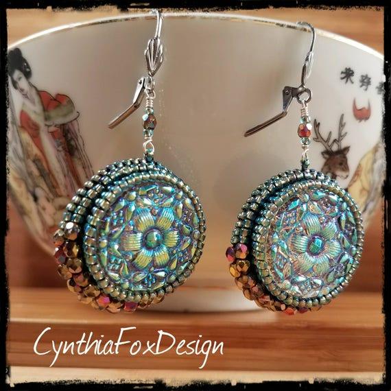 Ice Blue Floral Czech Glass Button Earrings