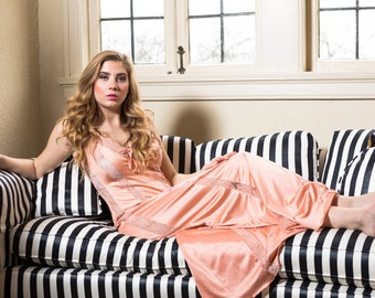 Long peach satin and lace vintage nightgown