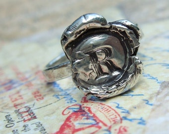 Wax Seal Handstamped Initial Ring, Silver Wax Seal Monogram Jewelry, Custom Capital Letter, 4 5 6 7 8 9 10 11 12 13 14 15  and Half Sizes