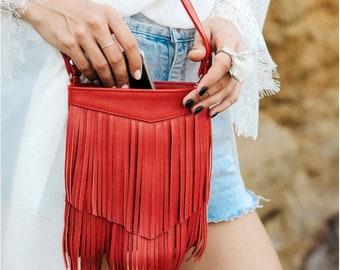 Festival crossbody bag Womans festival bag Festival leather bag Festival red leather bag Red messenger bag