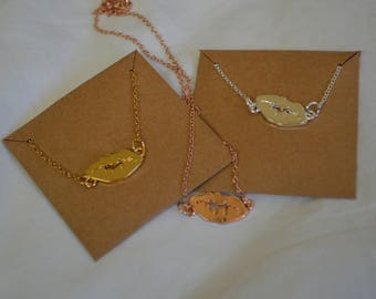 Rose Gold Silver Gold Lips Necklaces