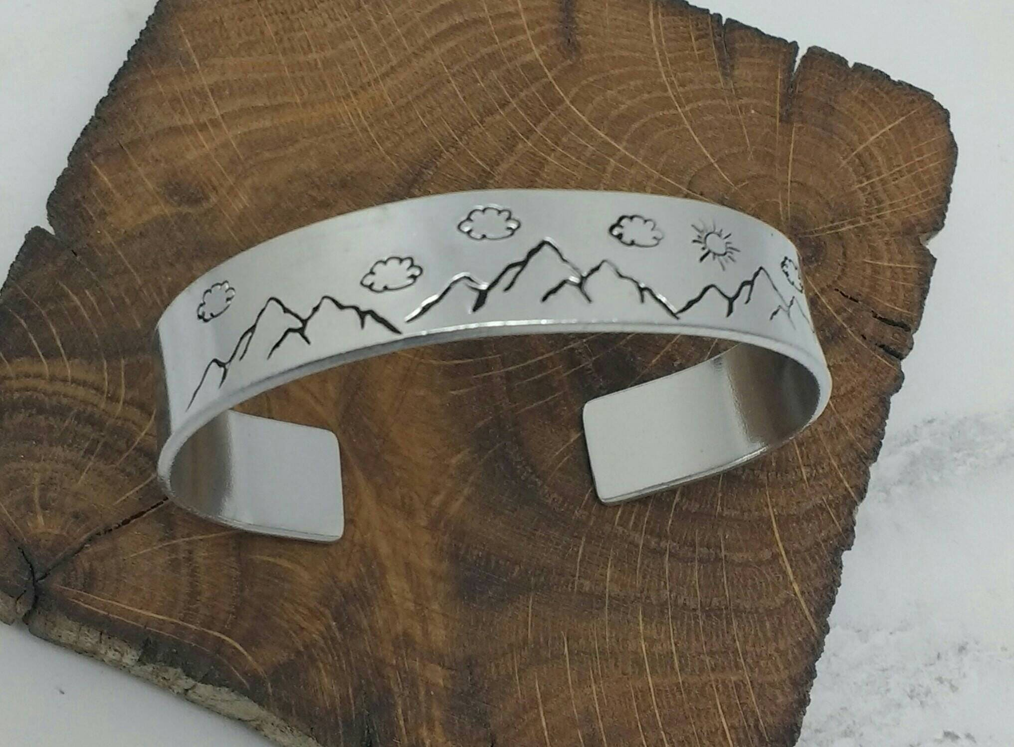 Mountains and sky unisex 12mm cuff bracelet, handstamped. Adventure, hiking, mountain climbing, walking, travel gift