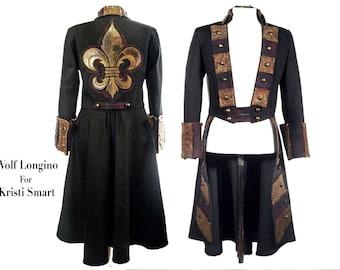 Anime steampunk pirate coat with fleur de lis