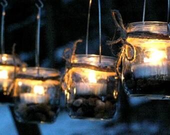 Four Mini Jar Lantern Candle Hanging Vase Outdoor Lighting