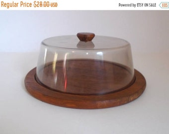 Sale - Vintage 1970's Danish Modern Teak & Plastic Cheese / Food Serving Tray